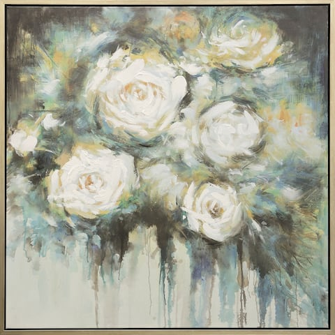Silver Orchid Hand-painted Roses Wall Art