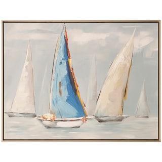 Porch & Den 'Blue Sail Nautica' Hand-embellished Framed Canvas Print Wall Art