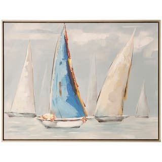 Blue Sail Nautica Hand Embellished Sailboat Print Wall Art on Framed Canvas