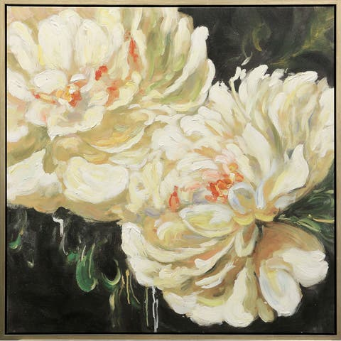 Copper Grove Hand-painted Floral Framed Canvas Wall Art