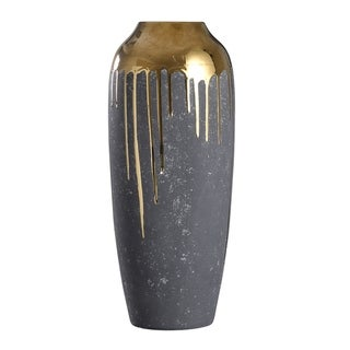 Marloe Tall Charcoal Ceramic Vase with Reflective Gold Drip