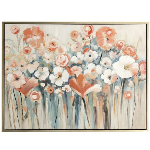 Copper Grove Hand-painted Poppy Field Framed Canvas Wall Art