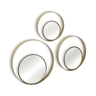 Collection of Multiple Sized off Center Metal Framed Circular Wall Mirrors (Set of 3)