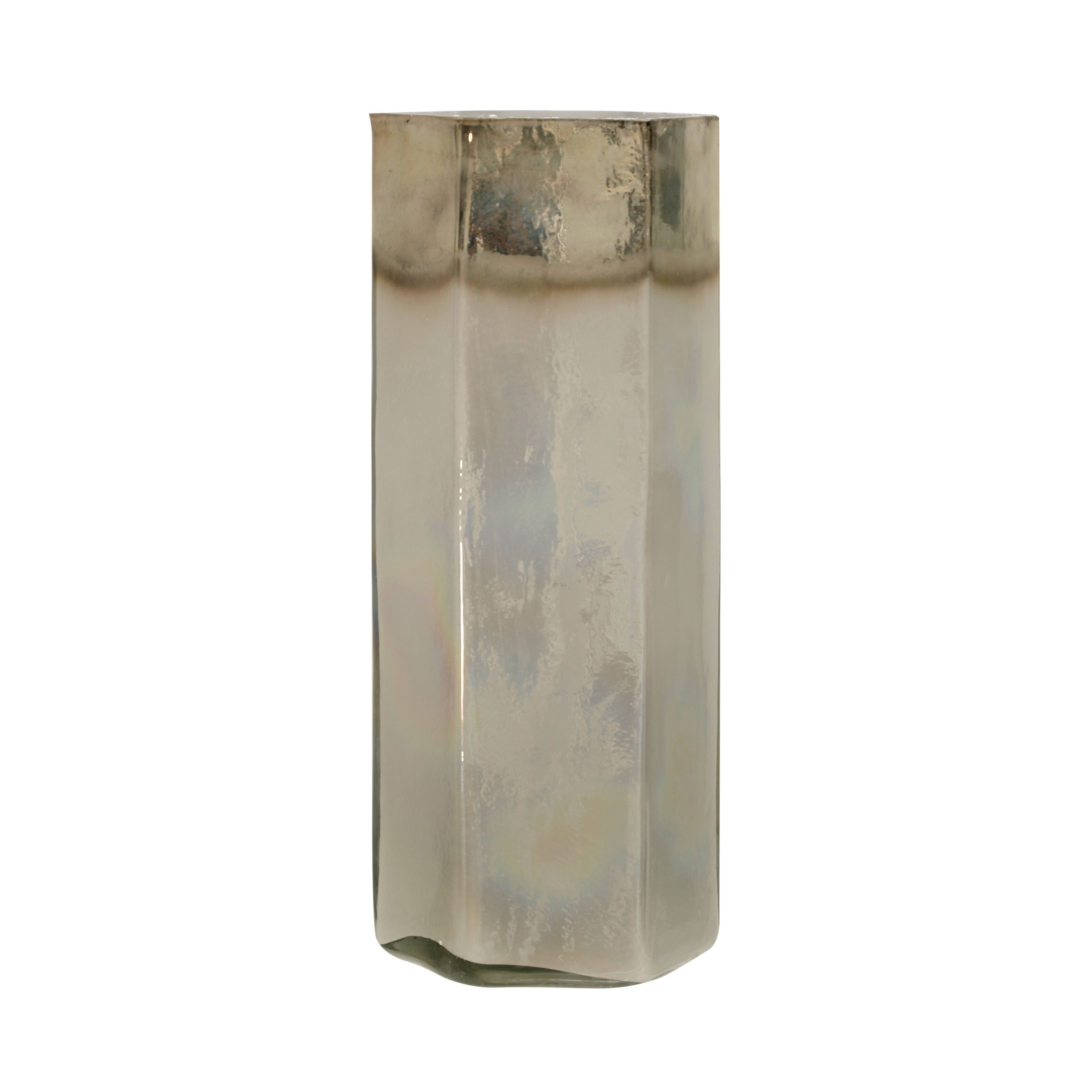 Iridescent Hexagonal 18-inch Glass Cylinder Vase with Gold Banded Top