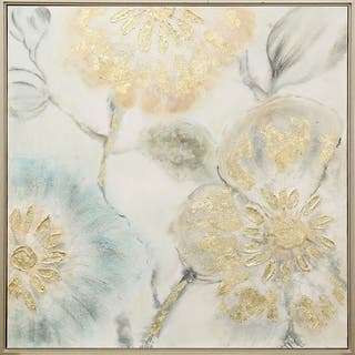 Copper Grove Tulip Tree Print Wall Art with Metallic Goldtone Embellishments