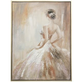 Copper Grove Hand-painted Ballerina Framed Canvas Wall Art