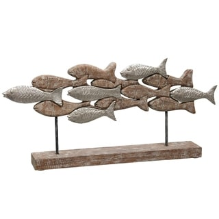 Native School Two Tone Carved Natural Wood School of Fish Table Top Sculpture on Wood Base