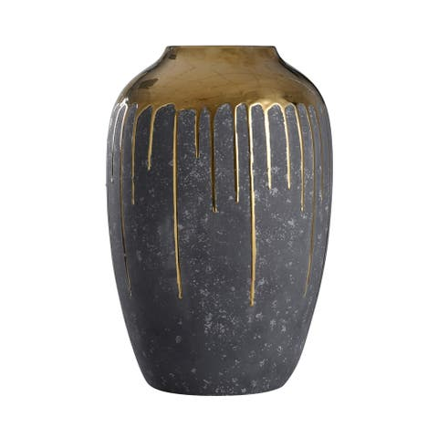 Marloe Short Charcoal Ceramic Vase with Reflective Gold Drip