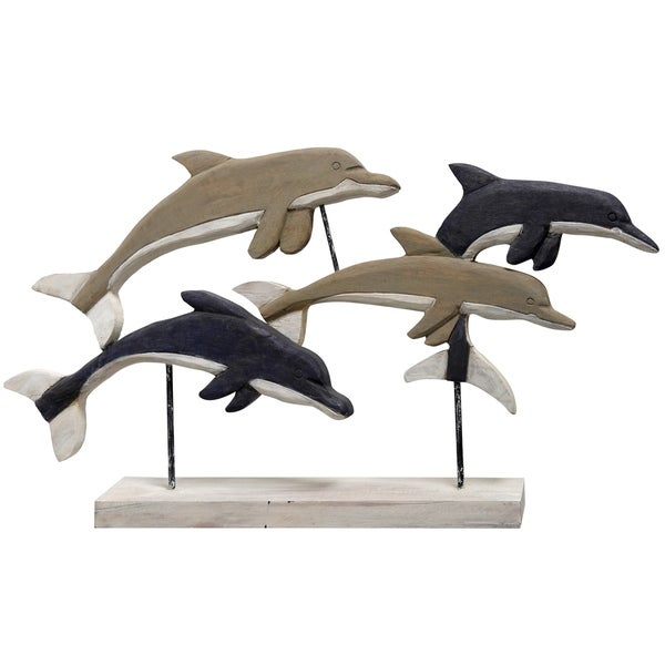 Native Dolphins Carved Natural Wood Swimming Dolphin Pod Table Top Sculpture on Wood Base