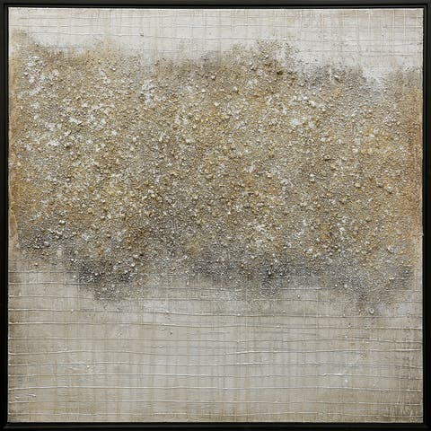 Strick & Bolton Hand-embellished Gold/ Grey Abstract Wall Art