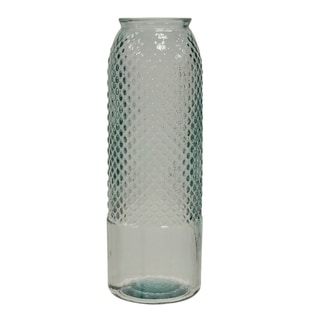 Tall Diamond Stud Clear Embossed Textured Recycled Spanish Glass Column Vase