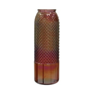 Tall Diamond Stud Red Pearl Embossed Textured Recycled Spanish Glass Column Vase