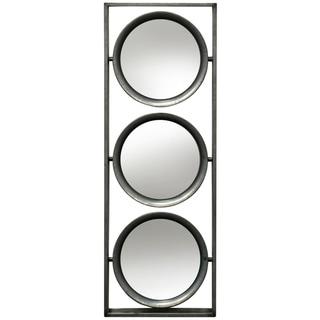 Carbon Loft Three Tilting Beveled Circular Mirrors Framed in an Open Metal Box Wall Hanging - Silver