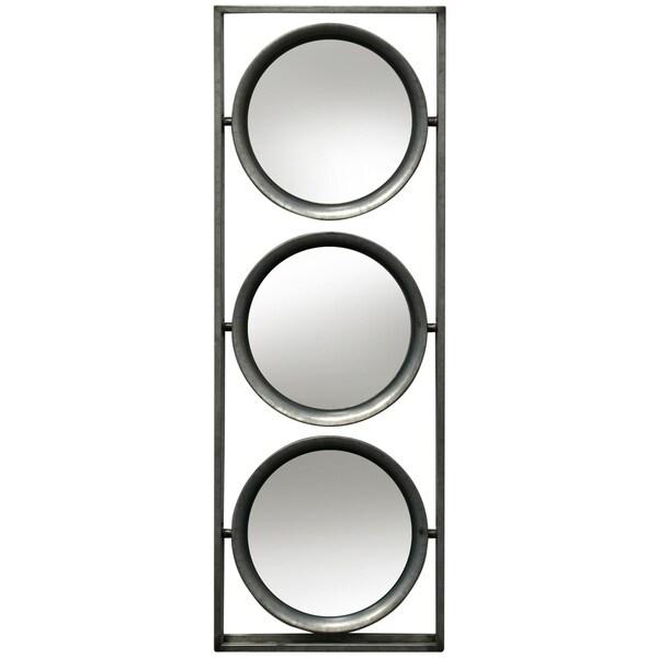 Carbon Loft Three Tilting Beveled Circular Mirrors Framed in an Open Metal Box Wall Hanging