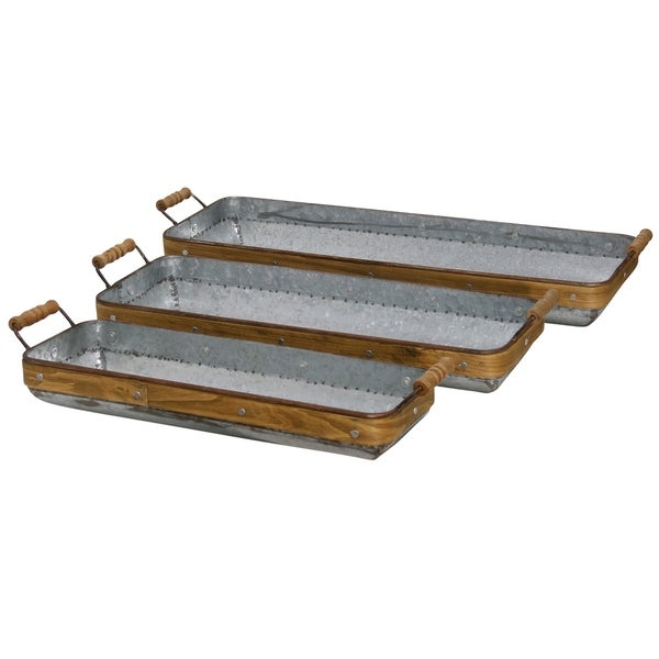 The Gray Barn Collection of Nesting Galvanized Trays with Wood Trim and Handles (Set of Three)