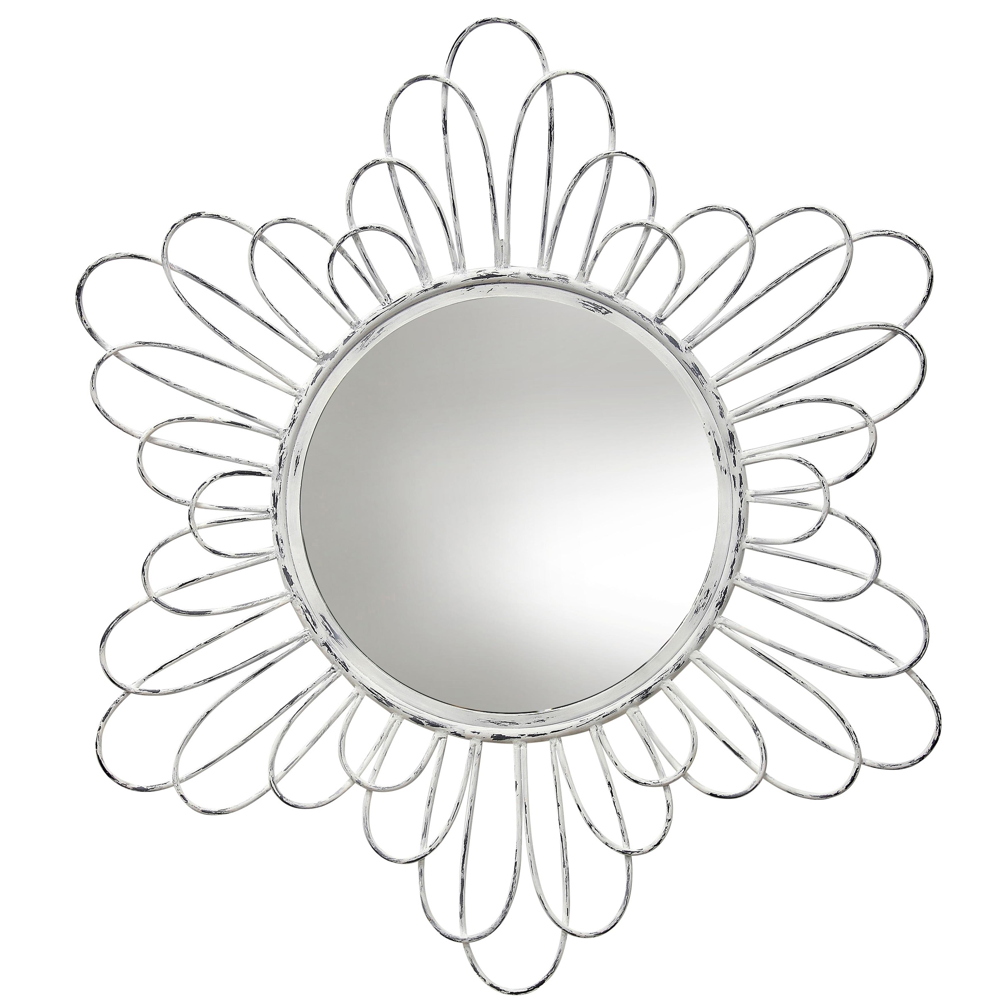 Circular Wall Mirror Framed in Metal Loops