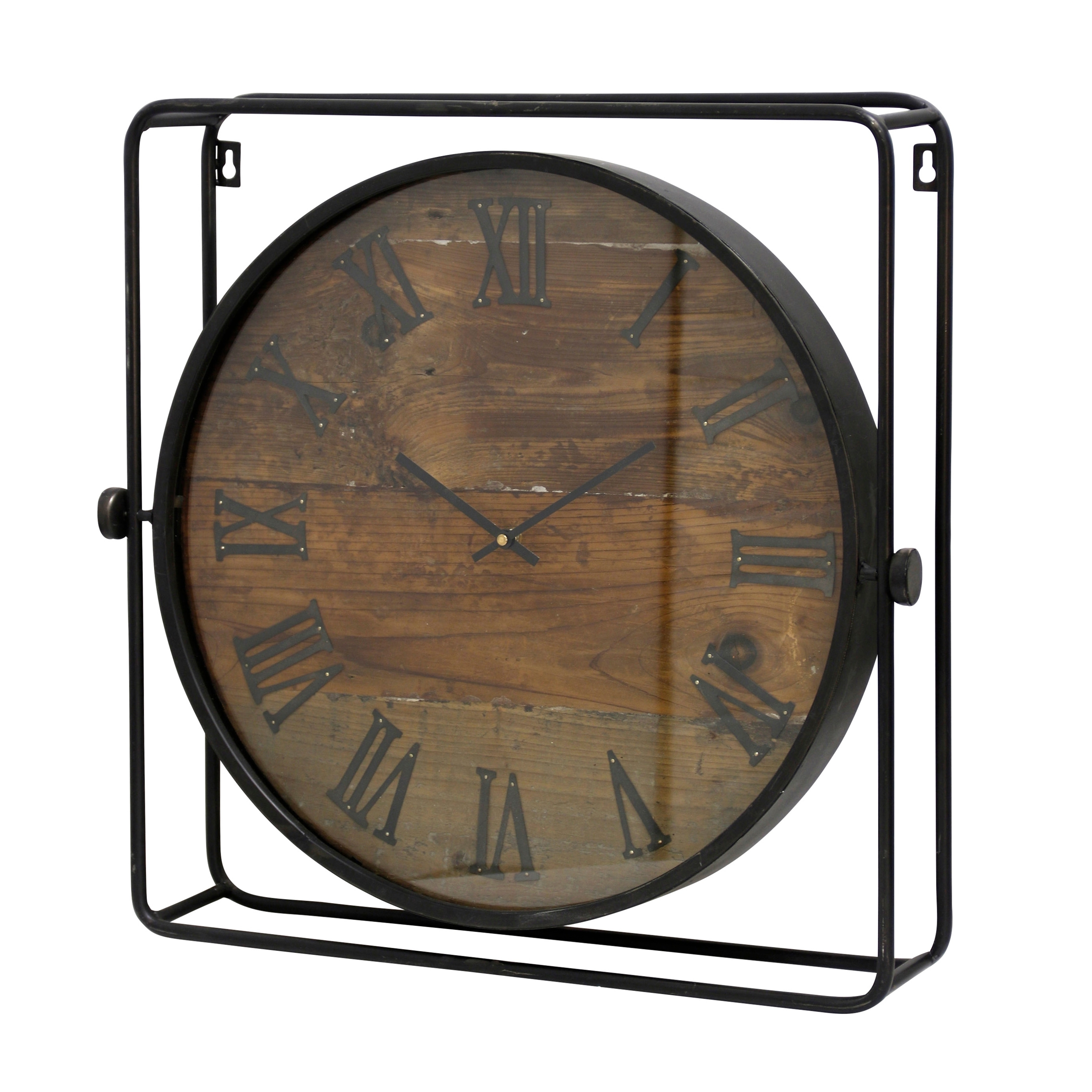 Round Wall Clock with Roman Numerals on Weathered Wood Face