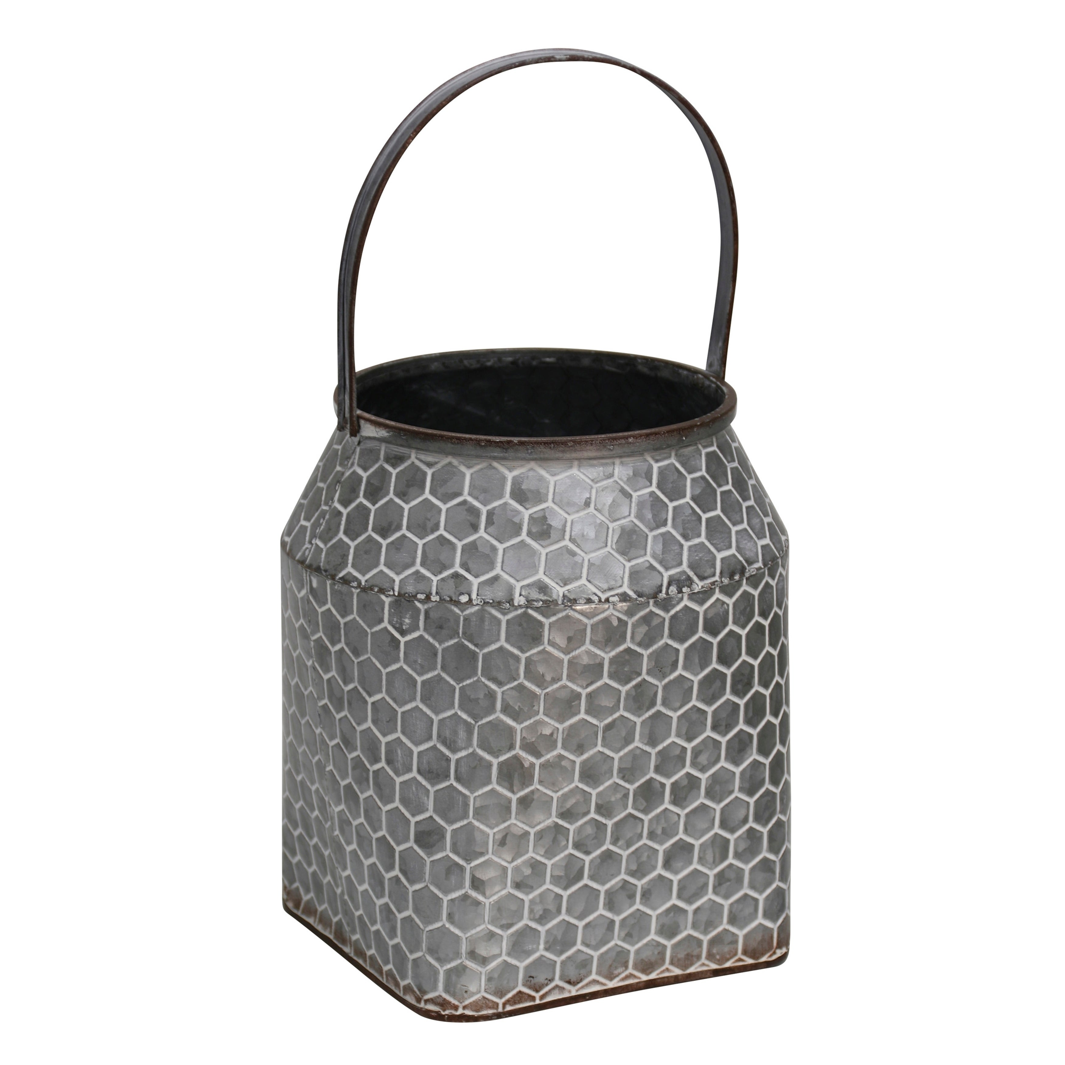Tall Hive Pattern Milk Pail Galvanized Metal Vase with Handle