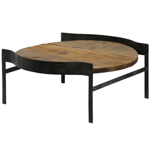Table Top Tray with Round Wood Surface and Fitted Square Metal Base