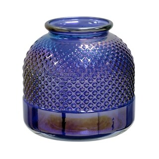 Short Diamond Stud Violet Pear Embossed Textured Recycled Spanish Glass Vase