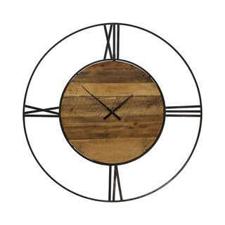 Carbon Loft Jethro Round Wall Clock with Roman Numerals on Metal Open Frame That Surrounds Wood Face