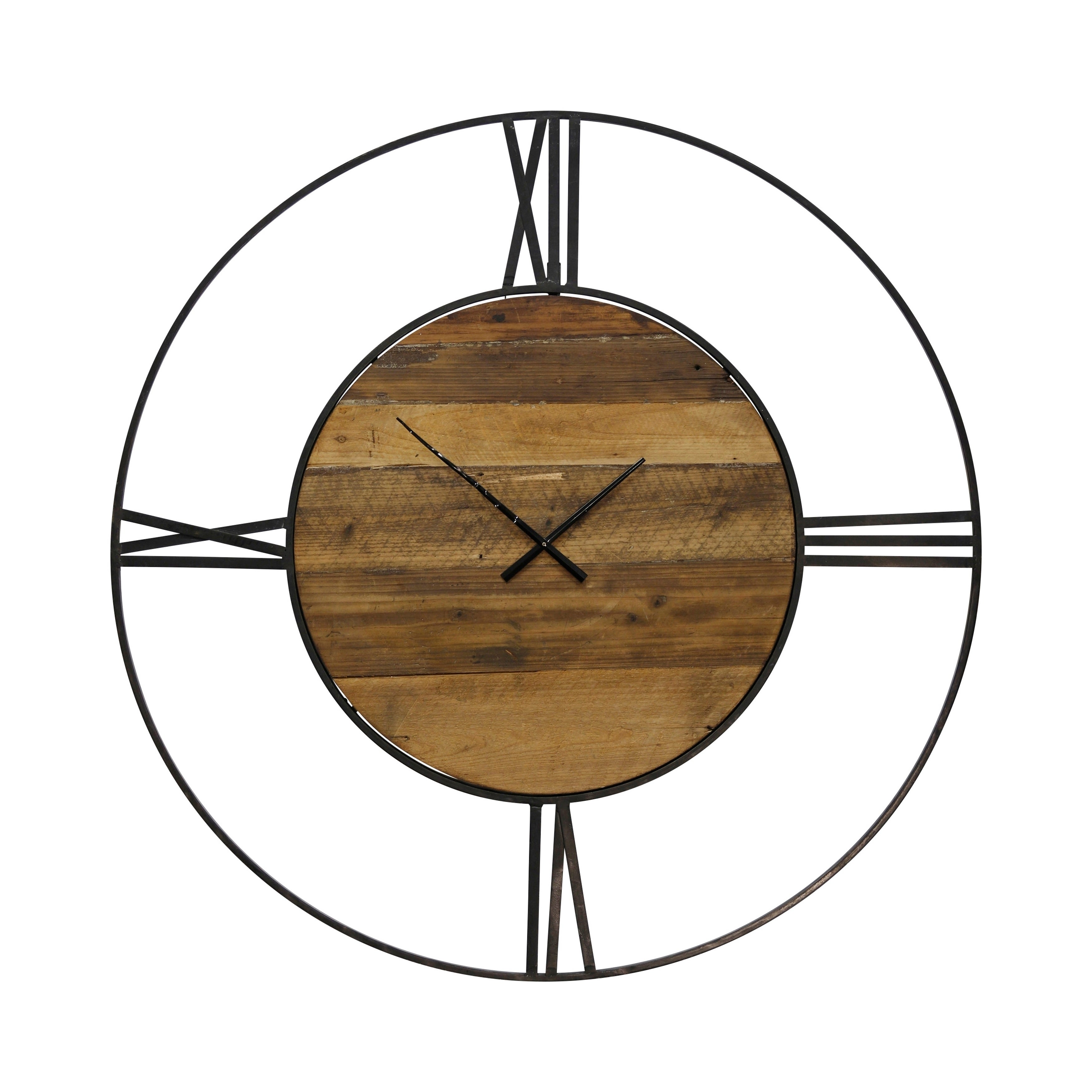 Round Wall Clock with Roman Numerals on Metal Open Frame That Surrounds Wood Face