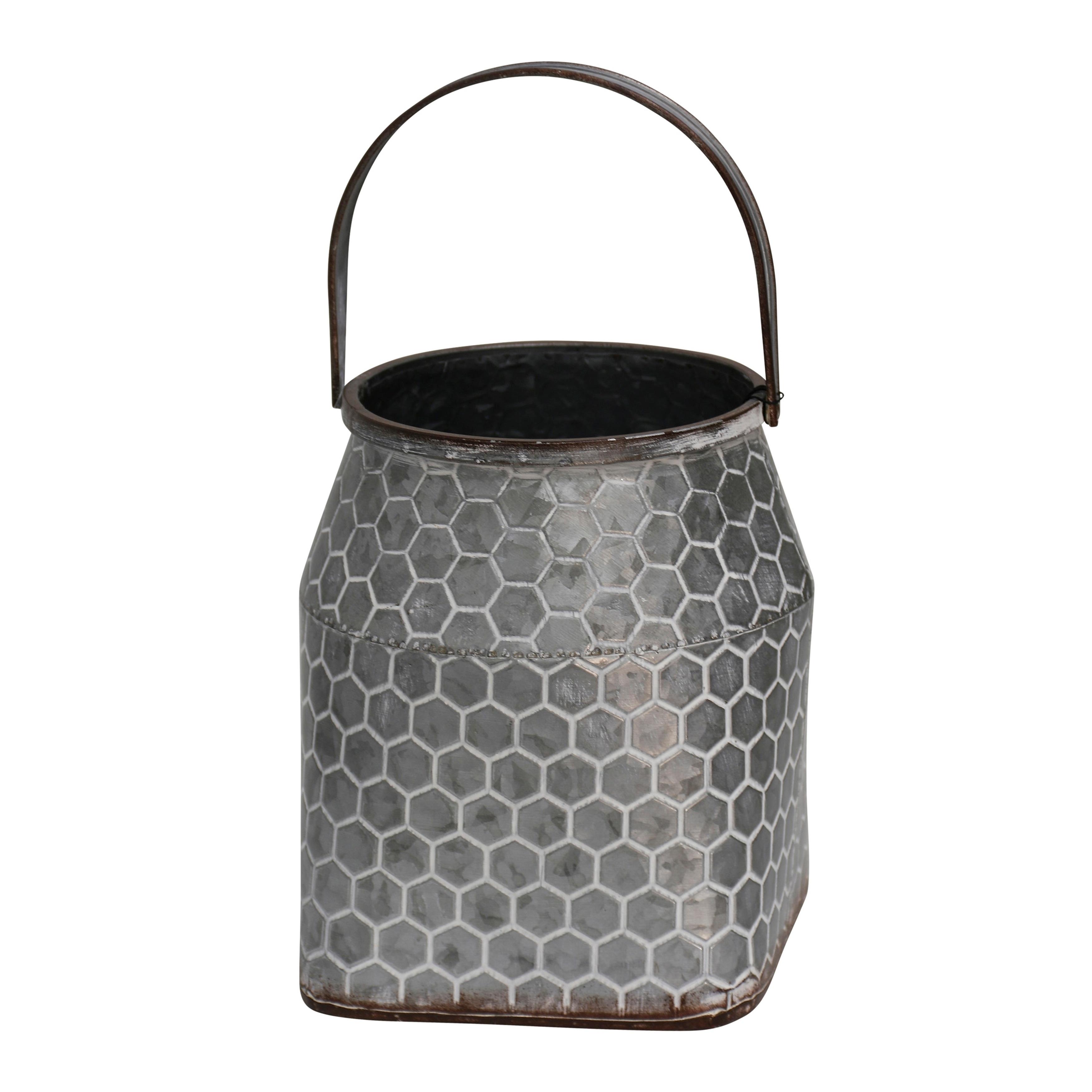 Short Hive Pattern Milk Pail Galvanized Metal Vase with Handle