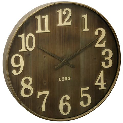 Round Wall Clock with 1863 Antiqued Stamp Date Detail on Metal Face Under Glass