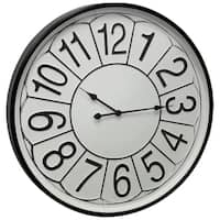 Round Wall Clock with Large Numbers on Metal Face Under Glass with Scallop Detail