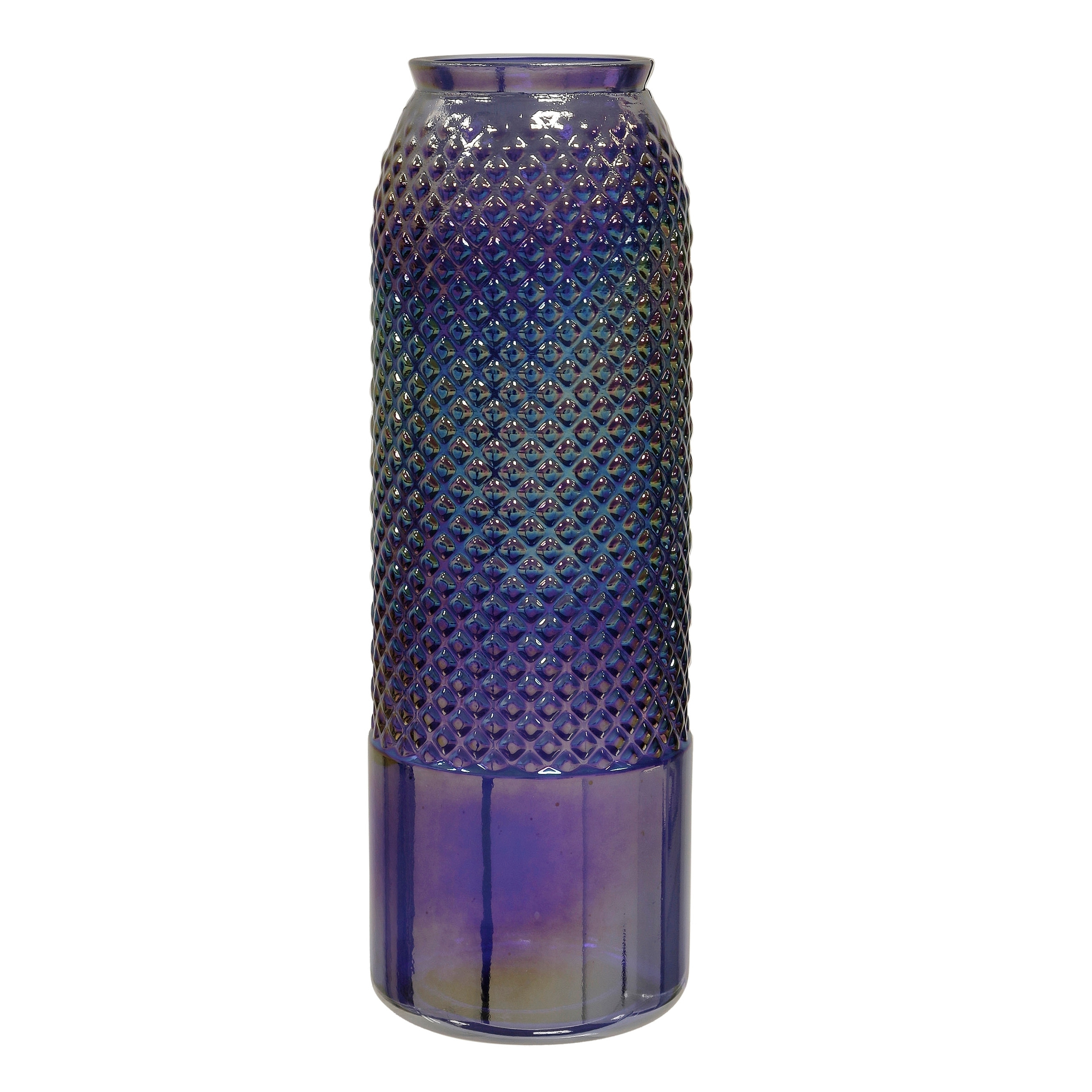 Tall Diamond Stud Violet Pearl Embossed Textured Recycled Spanish Glass Column Vase