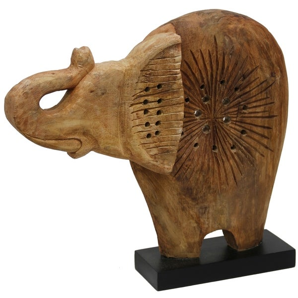 Native Elephant Radiant Pattern Carved Natural Wood Elephant Table Top Sculpture on Wood Base