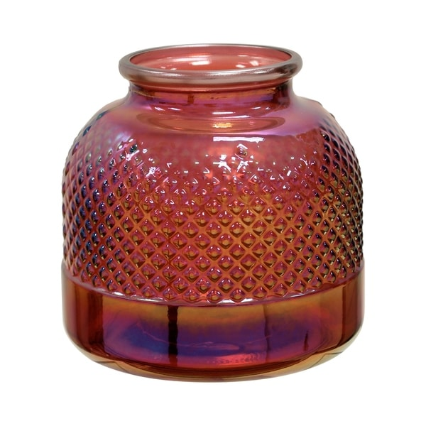 Short Diamond Stud Red Pearl Embossed Textured Recycled Spanish Glass Vase