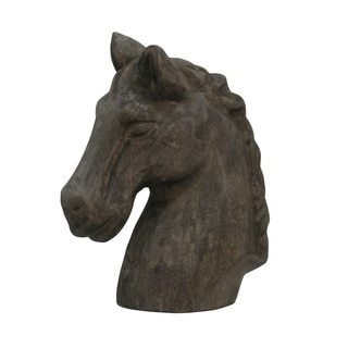 Native Horse Carved Natural Wood Horse Bust Table Top Sculpture