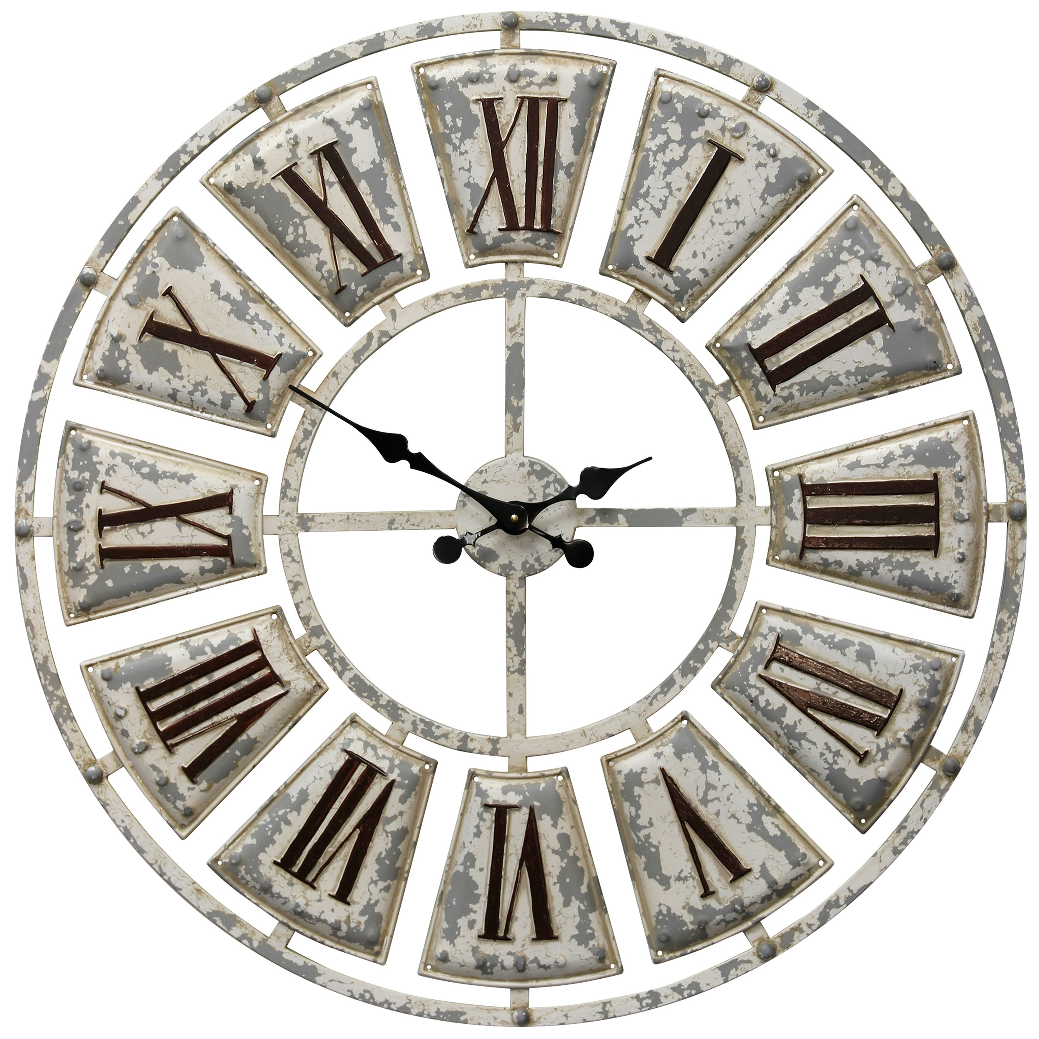 Round Wall Clock with Contrasting Dark Tone Finish Roman Numerals on Light Weathered Face