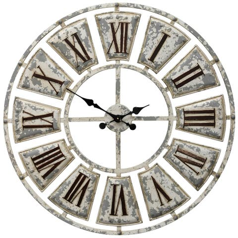 The Gray Barn Round Wall Clock with Roman Numerals on-light Weathered Face