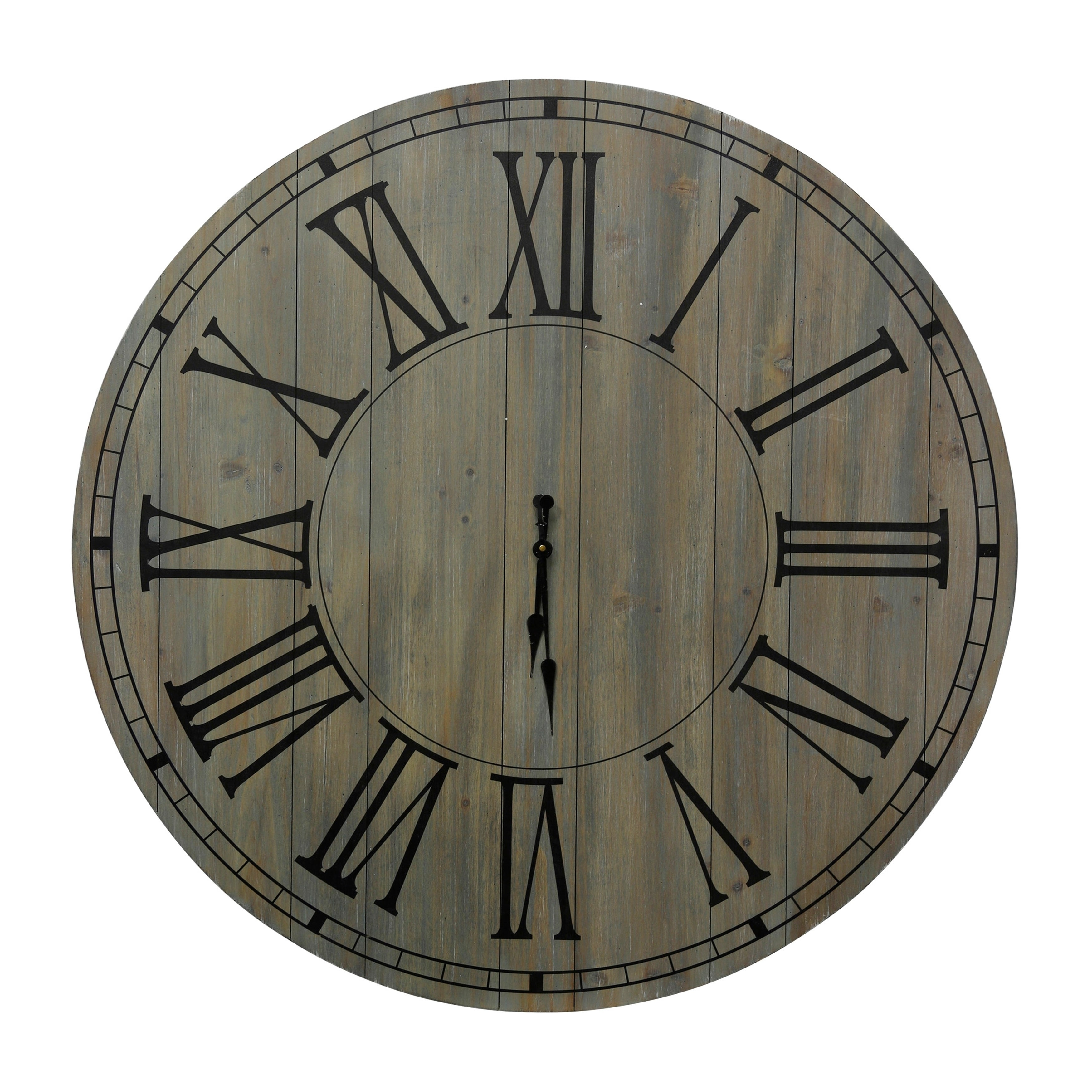 Natural Wood Round Wall Clock with Painted Panel, Roman Numerals and Minute Tick Markers