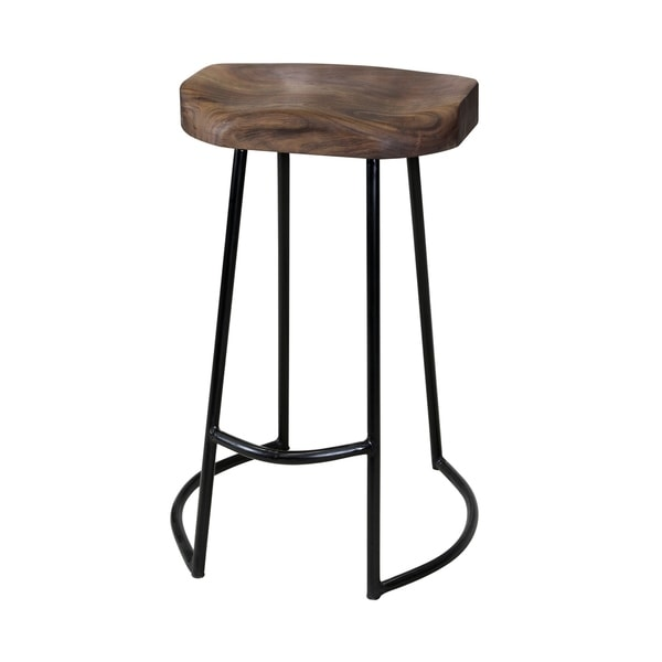 Pleasing Gavin Sculpted Solid Wood Seat Counter Stool With Wrought Iron Base With Foot Rest Caraccident5 Cool Chair Designs And Ideas Caraccident5Info