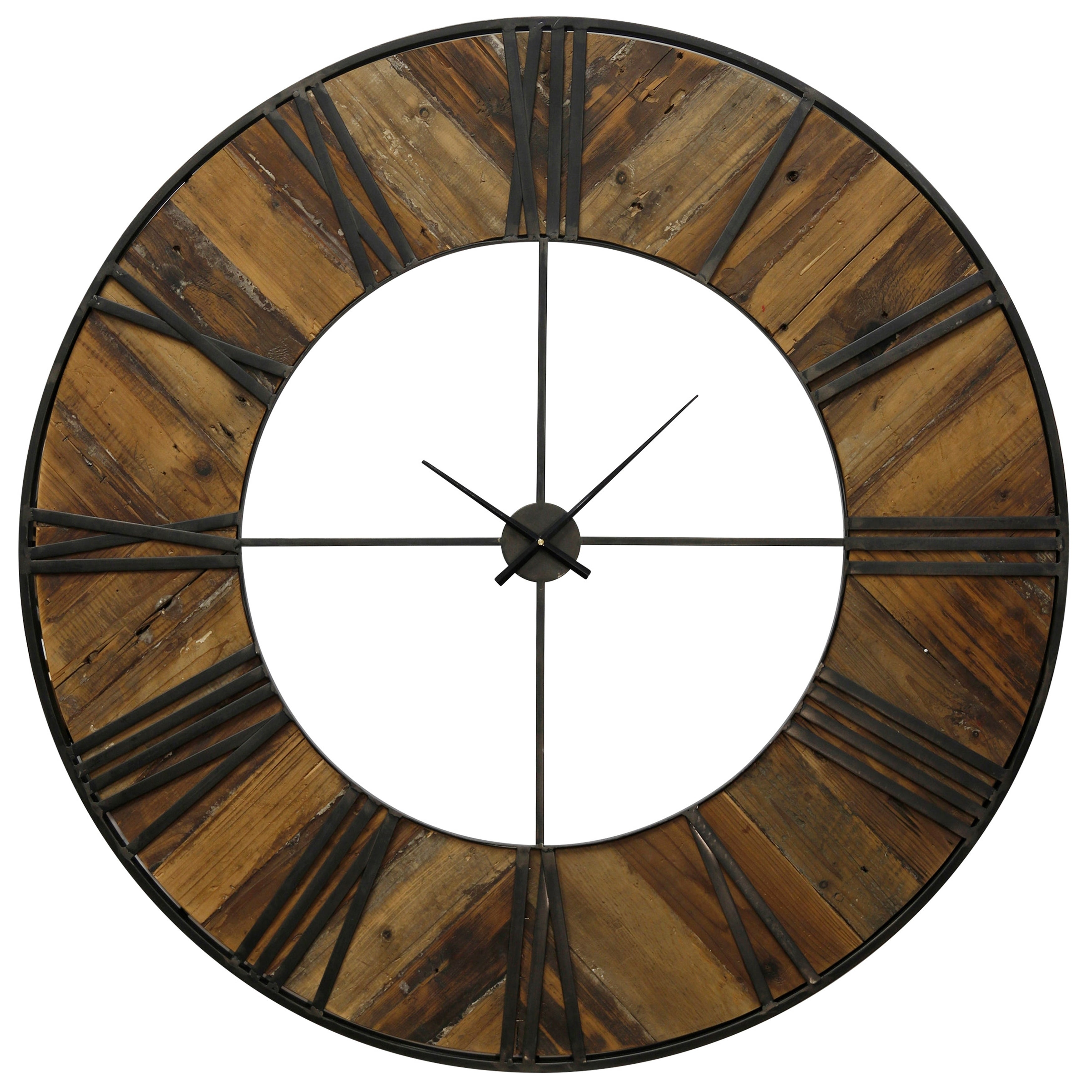 Round Wall Clock with Roman Numerals on Metal Frame Over Herringbone Parquet Wood