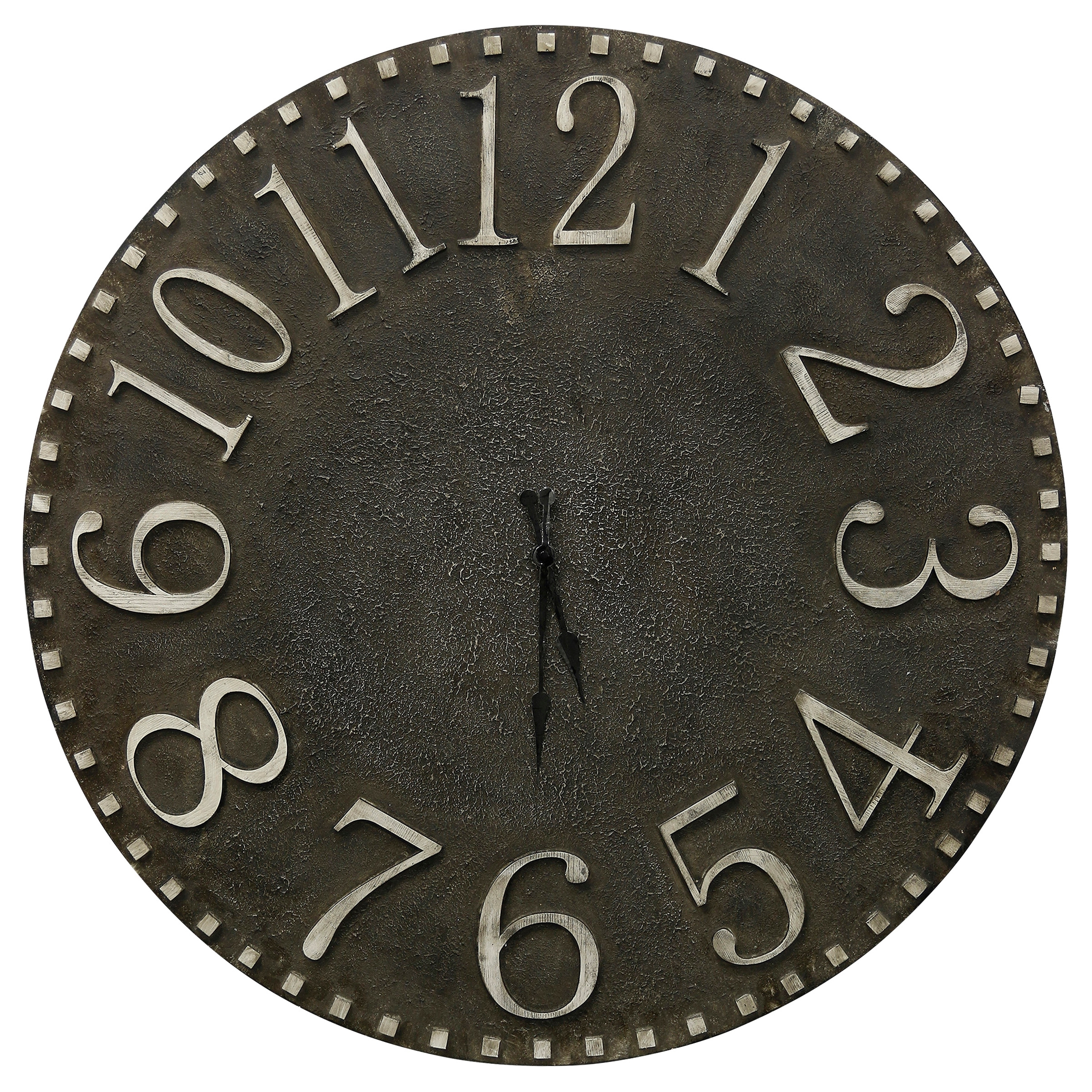 Natural Wood Round Wall Clock with Textured Wood Face and Raised Numbers
