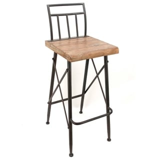 Wood Seat X-Frame Metal Barstool with Back and Foot Rest