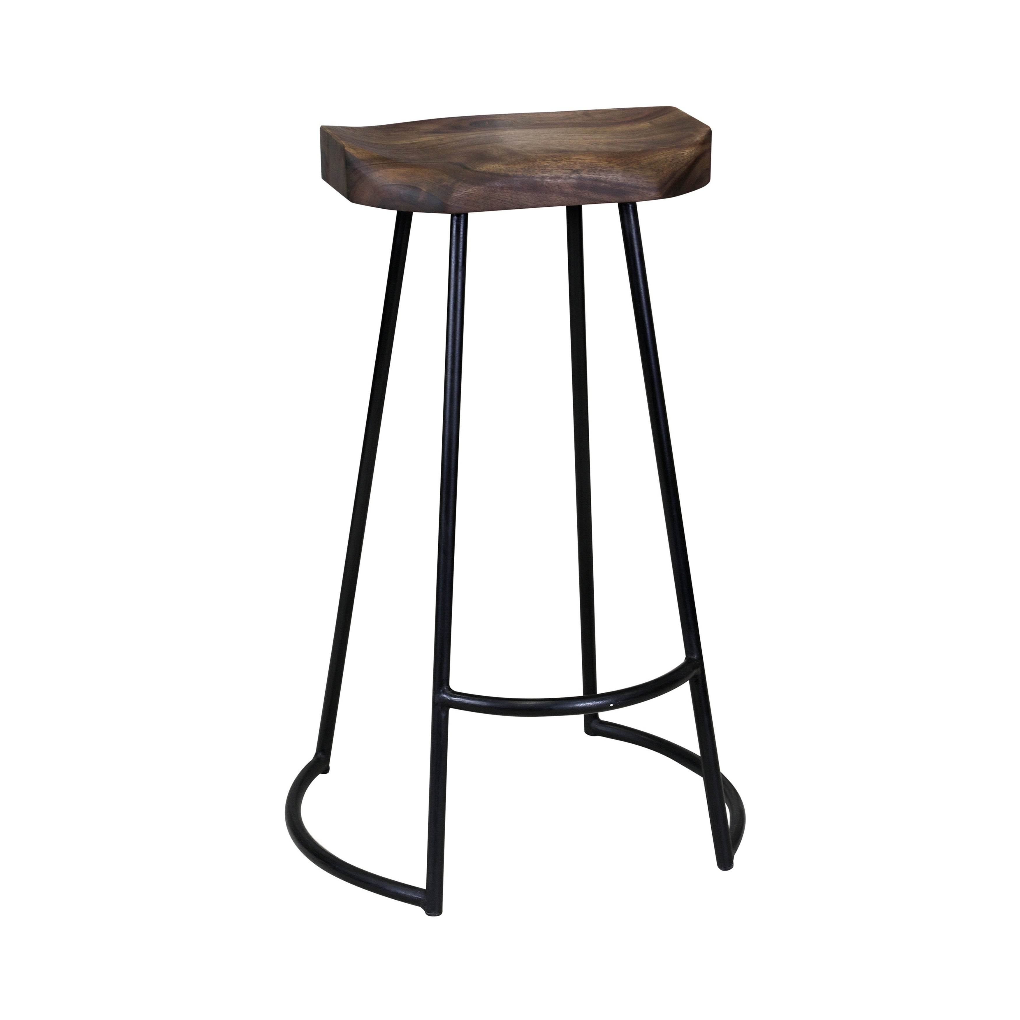 Swell Carbon Loft Jannes Sculpted Solid Wood Seat Bar Stool With Wrought Iron Base With Foot Rest Caraccident5 Cool Chair Designs And Ideas Caraccident5Info