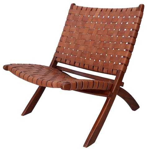 Brown Leather/Teak Basket Weave Armless Lounge Chair