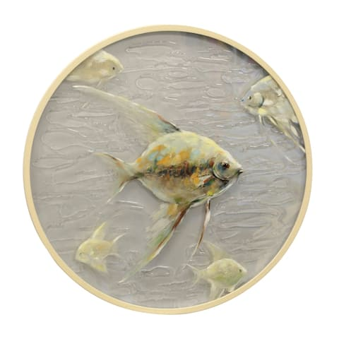 Porthole A Hand Painted Cream and Grey Coastal School of Fish on Rippled Glass Wall Art with Round Wood Frame