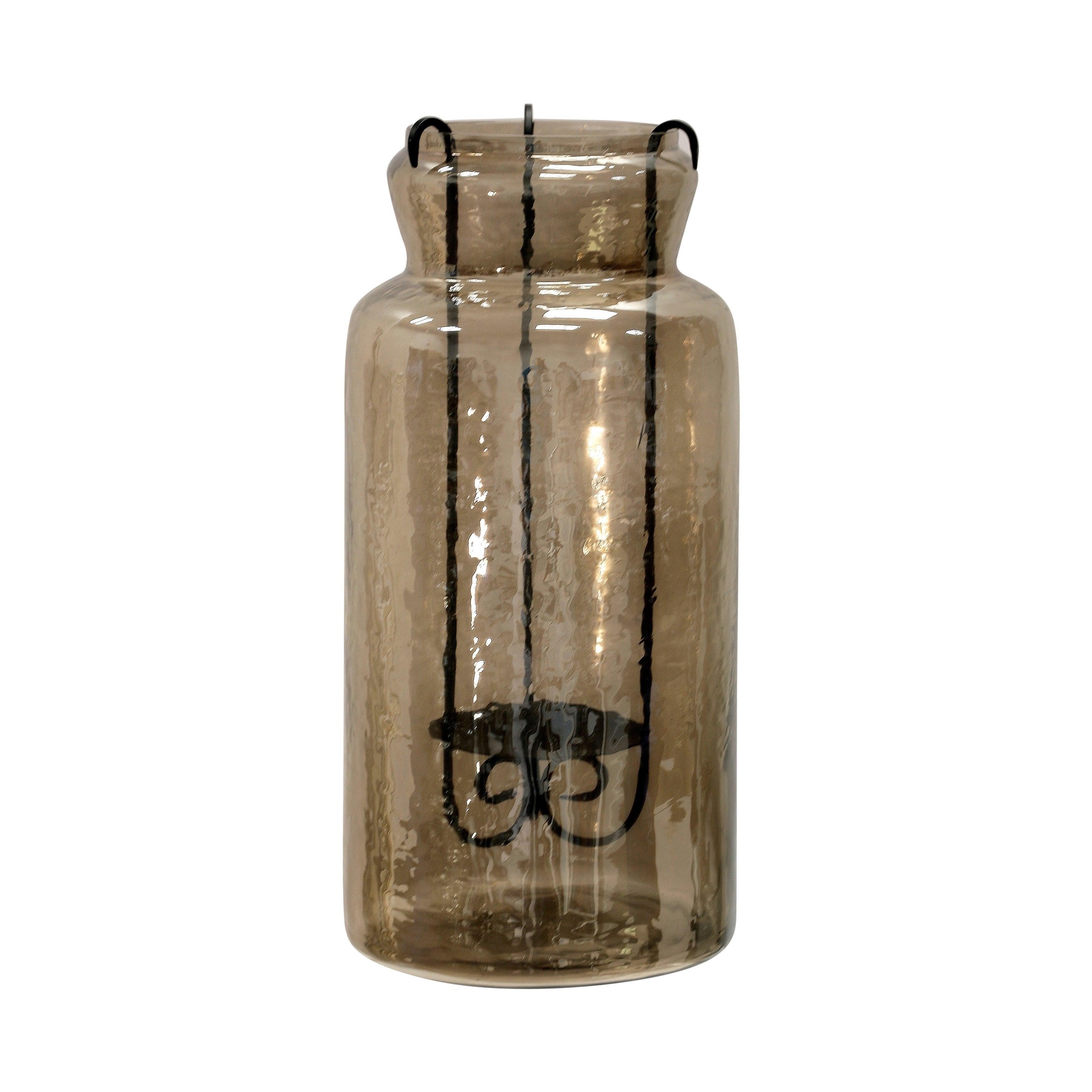 Tall Rippled Glass Hurricane Tea Light Jar with Scroll Metal Drop Candleholder