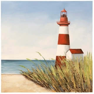 Porch & Den Hand-painted 'Lighthouse Signal Bay' Textured Stretched Canvas Wall Art