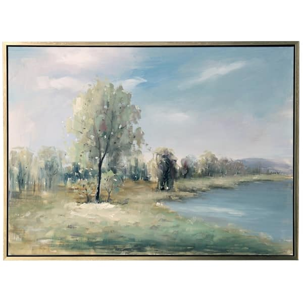 The Gray Barn Hand Painted Lake Landscape Wall Art On Framed Canvas Overstock 27649409