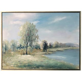 The Gray Barn Hand Painted Lake Landscape Wall Art on Framed Canvas