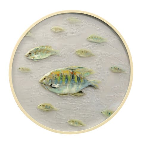 Porthole A Hand Painted Coastal School of Fish on Rippled Glass Wall Art with Round Wood Frame