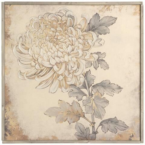 The Gray Barn Hand Embellished Chrysanthemum Print Wall Art on Framed Linen