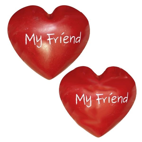 Handmade My Friendship Soapstone Heart, Set of 2 (Kenya)